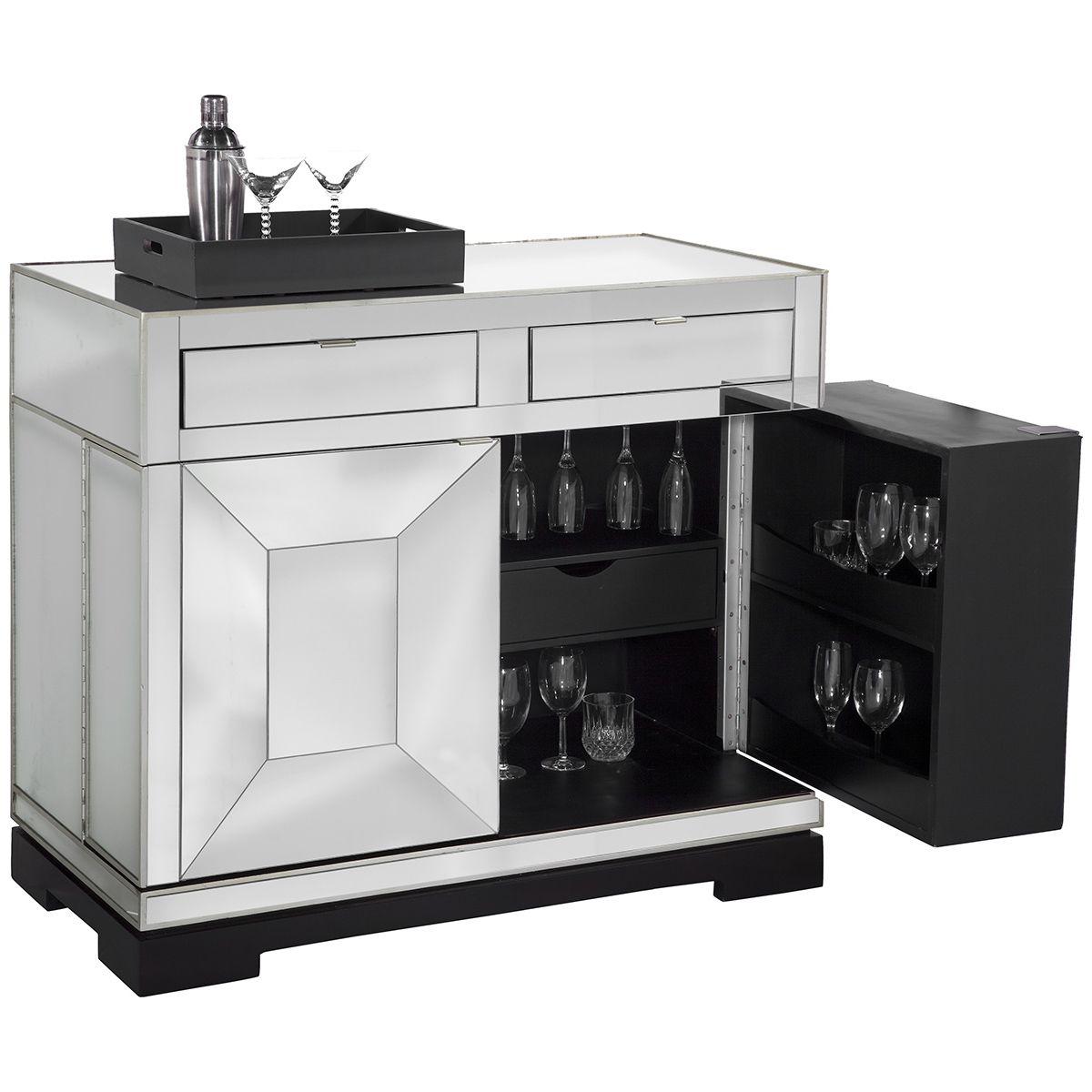 Bassett Mirror Thoroughly Modern Taney Rolling Bar Cabinet ...