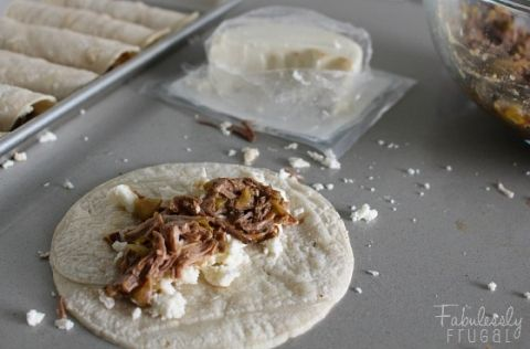 beef taquitos with queso fresco