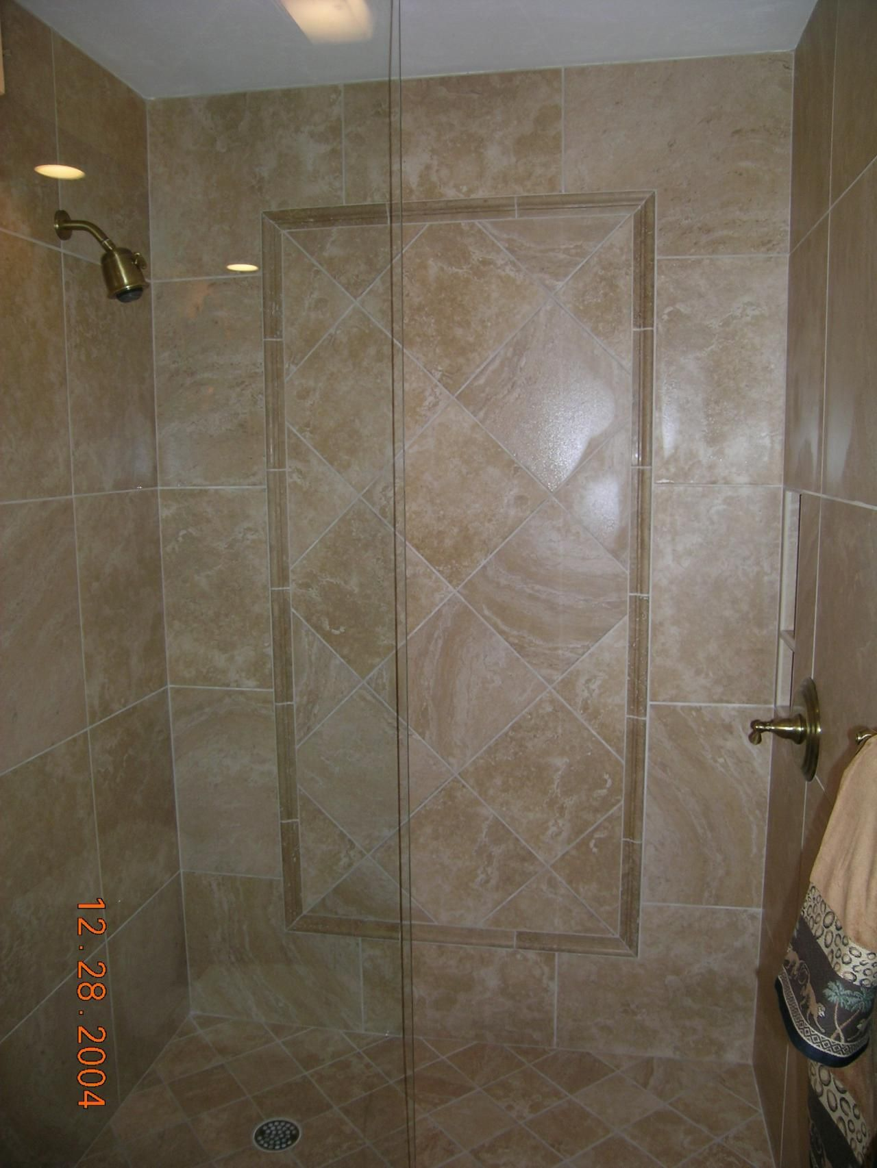 diagonal bathroom tile notice the floor and the walls are the same same 12684