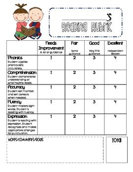 Made it myself :) Reading Rubric for Primary Grades