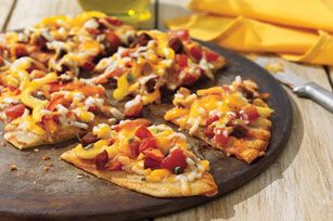 Grilled flatbread with chorizo peppers recipe kraft recipes food grilled flatbread with chorizo peppers recipe kraft recipes forumfinder Image collections