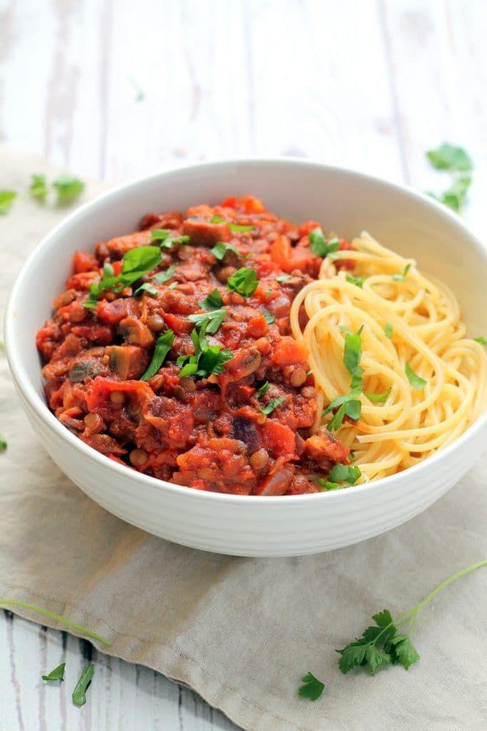 Green Lentil Spaghetti Bolognese