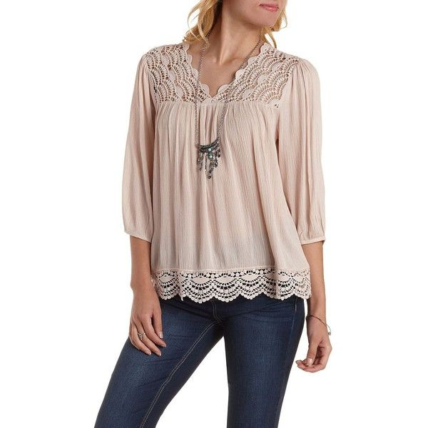 Charlotte Russe Dusty Pink Crochet-Trim Gauze Peasant Top by Charlotte... (160 VEF) ❤ liked on Polyvore