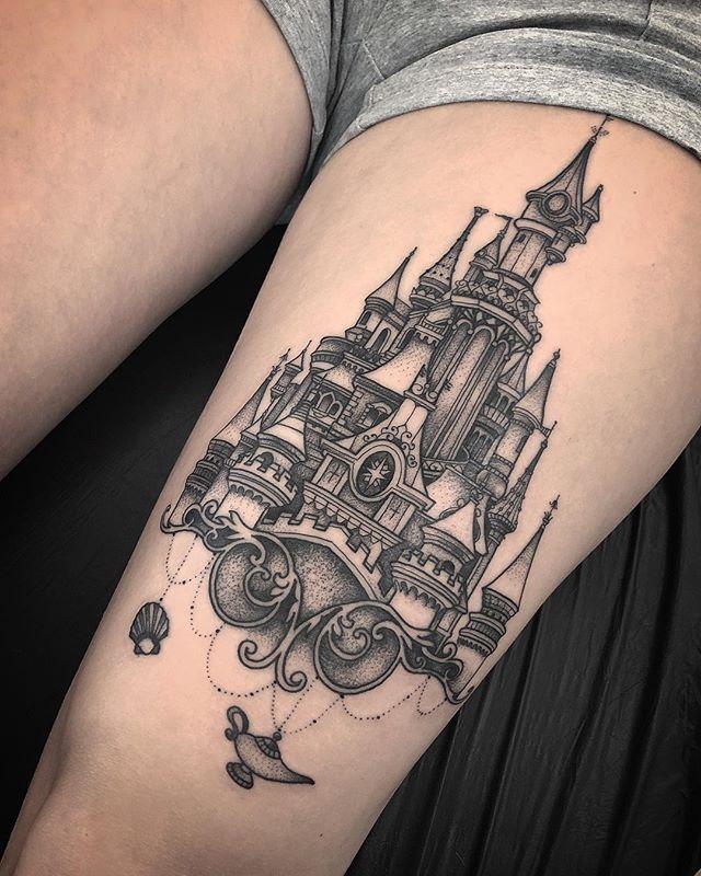 "Photo of Elisarrr on Instagram: ""Disney Castle done 🏰@mindatlargetattoo #blackandgreytattoo #disneyland #tattoo"""