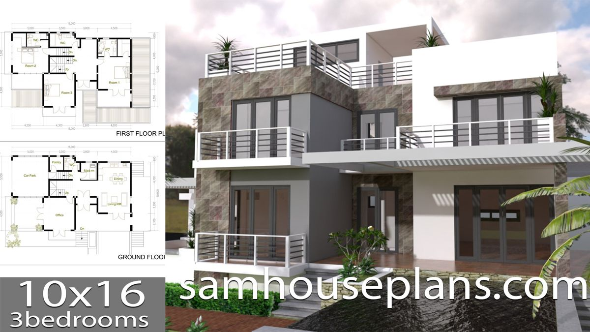 House Plans 10x16 With 3 Bedrooms Modern House Plans House