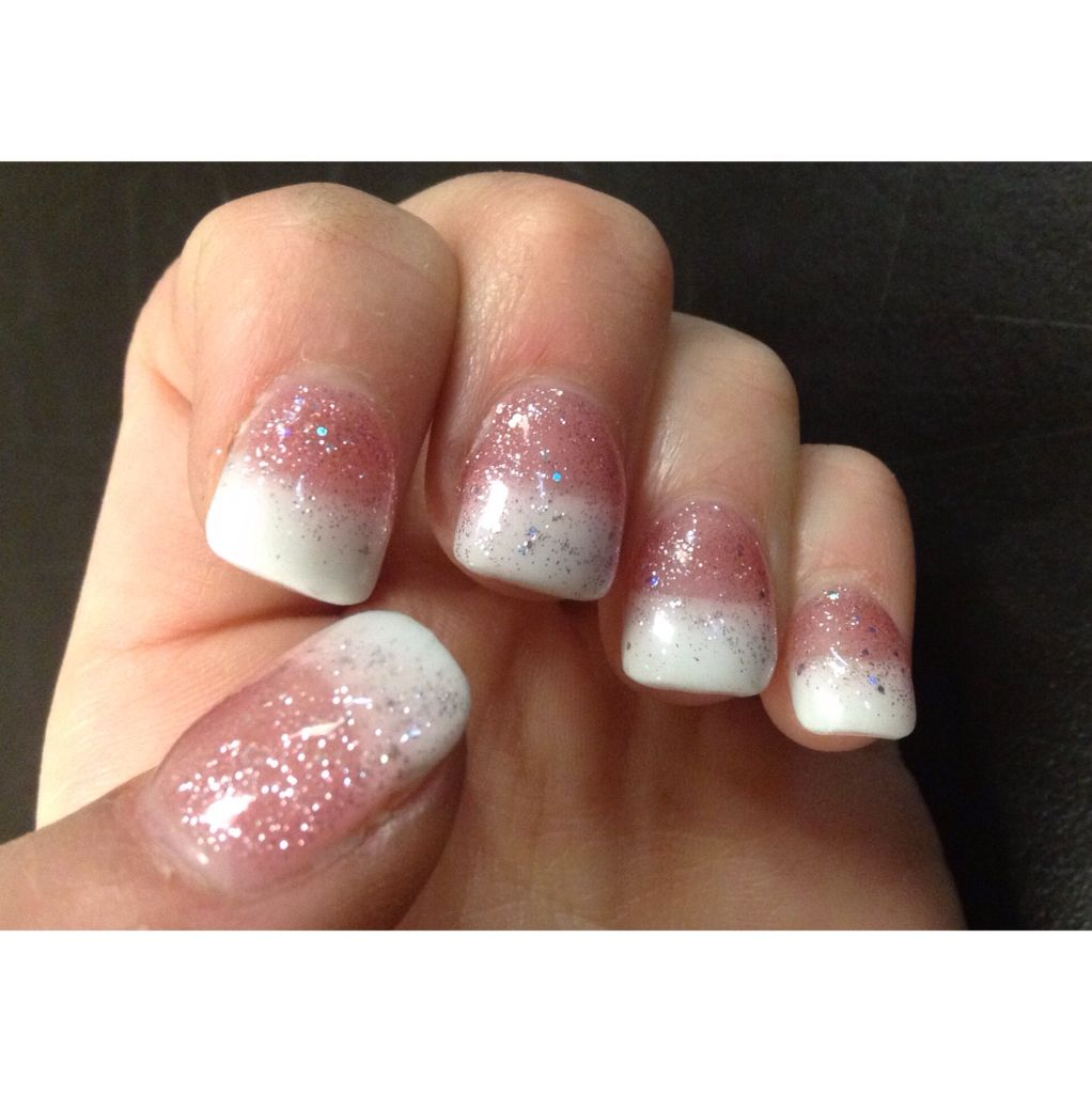 Prom nails. Pink and white sparkles. Acrylic nails.