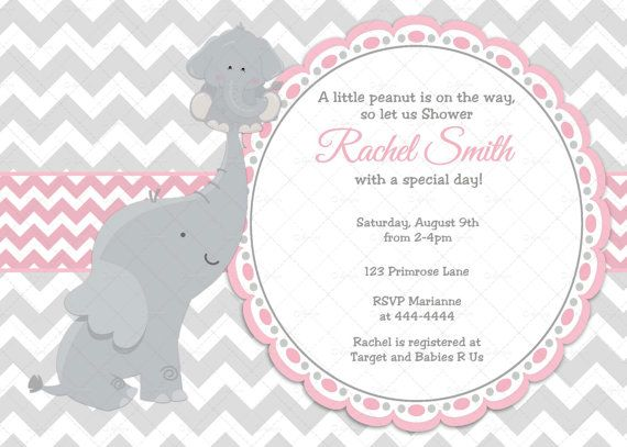 Pink elephant girl baby shower invitation elephant baby girl pink grey chevron elephant girl baby shower invitation by cuddlebuginvitations filmwisefo