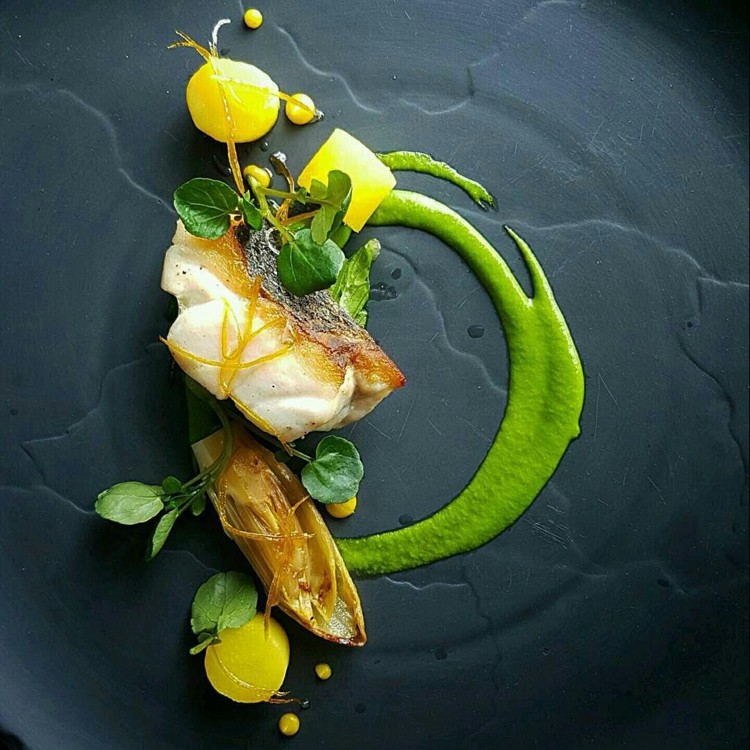 """6,551 Likes, 16 Comments - ChefsTalk (@chefstalk) on Instagram: """"Sea bass, w'cress, braised endive, saffron and citrus condiments by @nicobass_lavie - posted on…"""""""