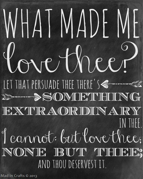 Printable Chalkboard With Shakespeare Quotes For Valentine S Day