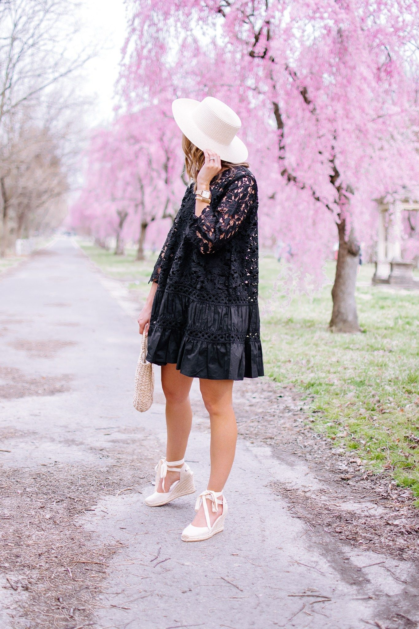 Perfect Little Black Crochet Dress For Spring With A Light