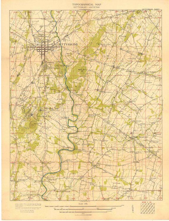 Gettysburg Topographic Map.Gettysburg Antietam Topographical Map 1924 By Designermapprints