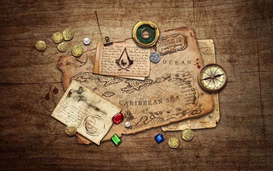 Map Money Compass And Trinket Alright Im Good To Go Pirating Assassins Creed Black Flag Assassin S Creed Wallpaper Logo Wallpaper Hd