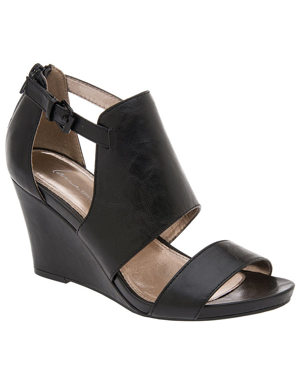 f54fd499033 Wide Width Two Strap Wedge Sandal by Lane Bryant