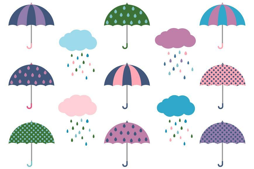 Cute umbrellas and rainy clouds clipart set