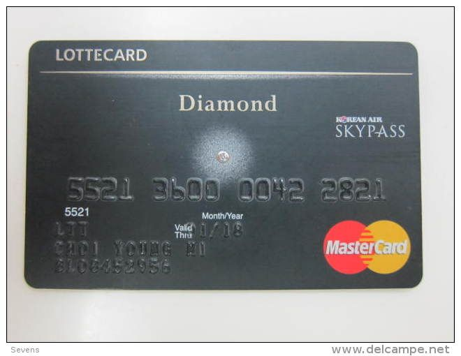 Korea Diamond Mastercard,Korean Air Skypass mileage card, in the middle with a damond(not real) - Delcampe.net