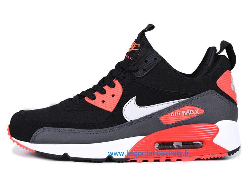 more photos 78b09 131ed Officiel Nike Air Max 90 SneakerBoot Chaussures Pas Cher Pour Homme Noir  BlancRouge