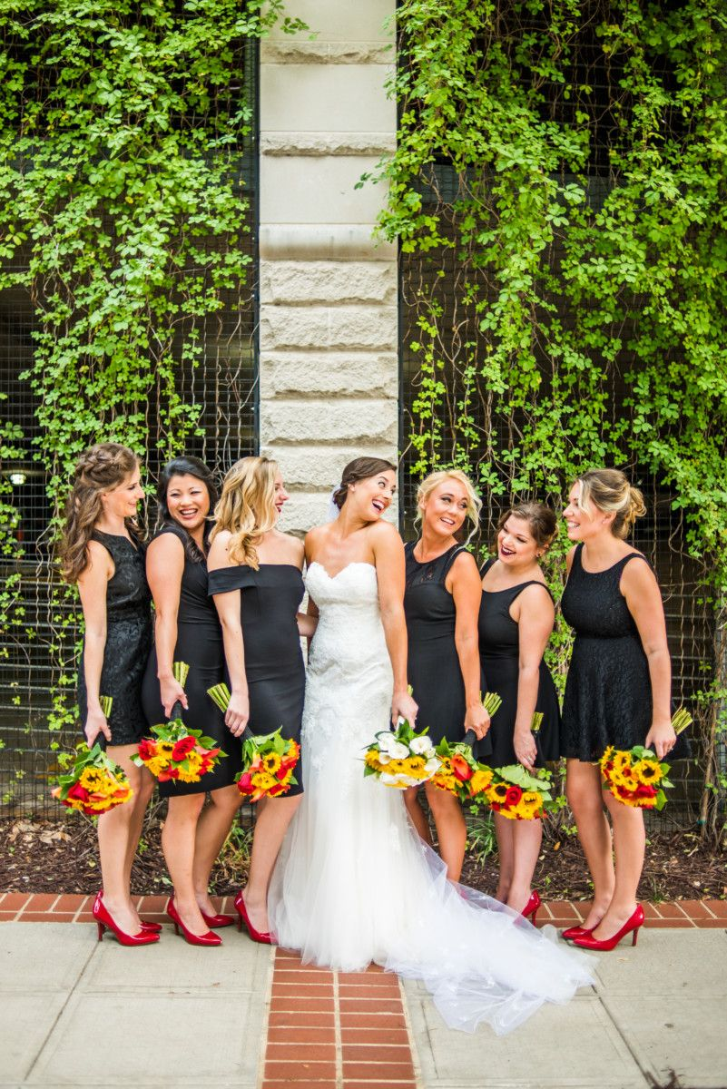 Black Variety Bridesmaid Dresses With Sunflower Bouquets And Red Pumps Red Sunflower Wedding Black Bridesmaid Dresses Fall Red Rose Wedding [ 1200 x 801 Pixel ]