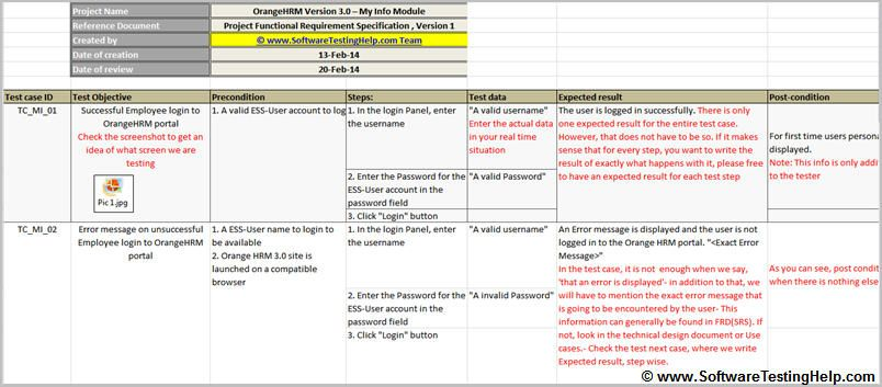 Test Case sample, simple test case with precondition and - sample work plan template