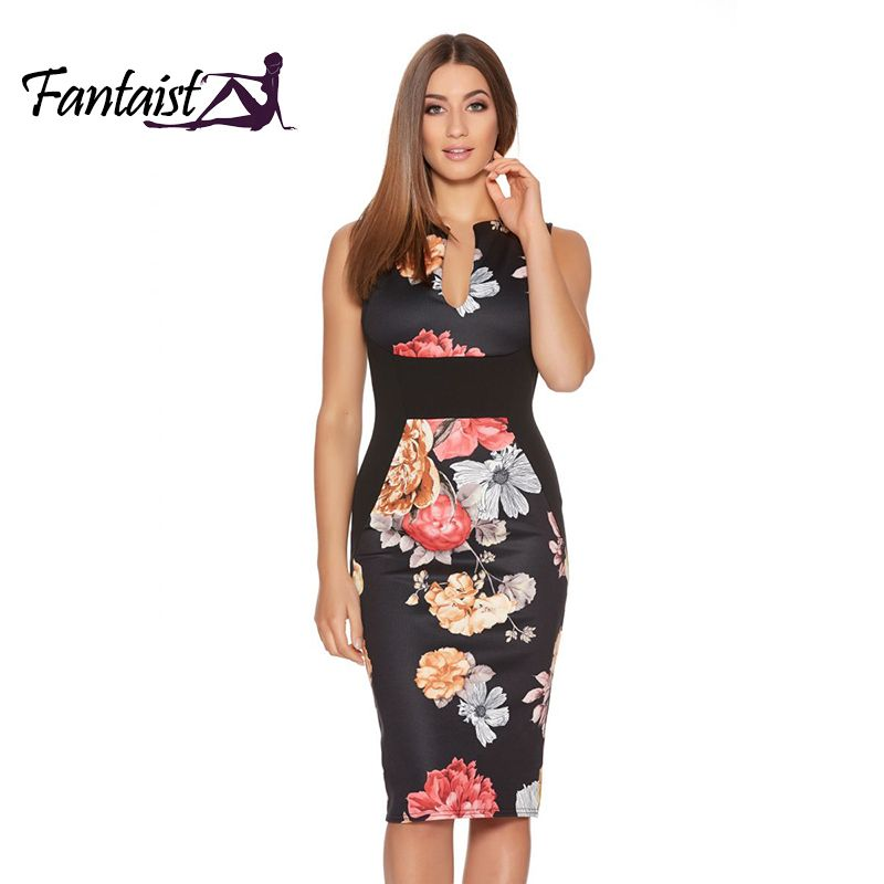 fdded67e4b6 Fantaist Women Summer Dresses Vestidos Vintage Floral Print Cocktail Party  Bodycon Pencil Dress