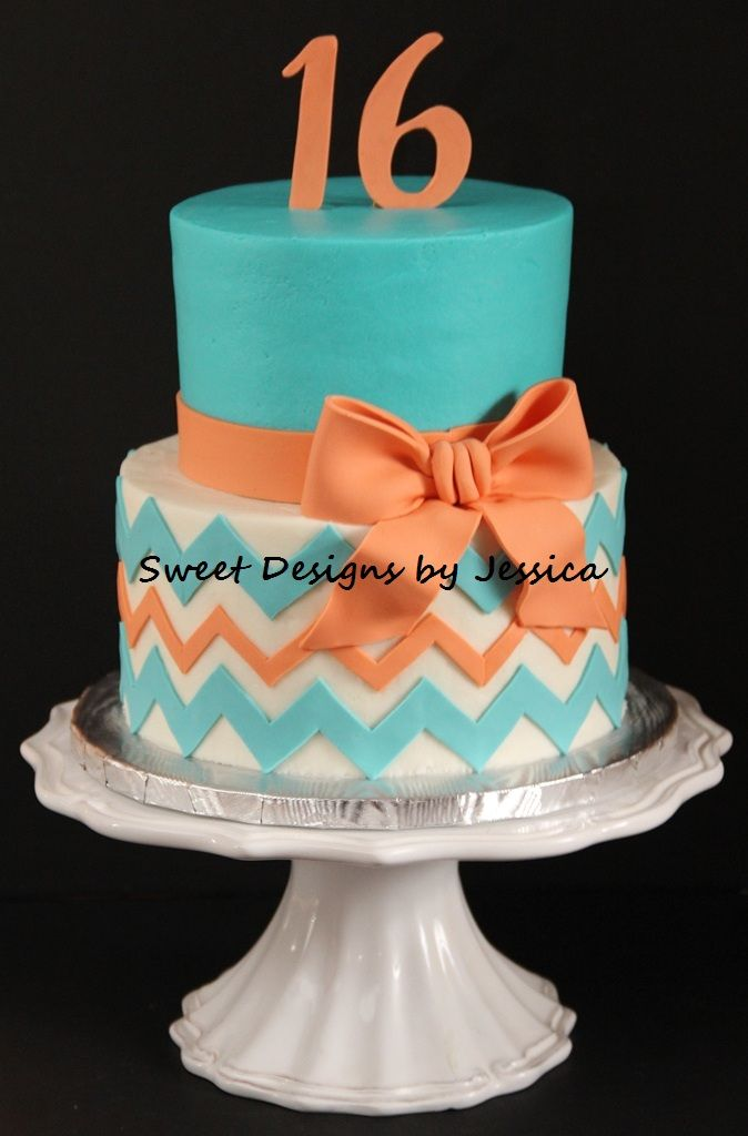 Chevron Cake change the colors and add graduation cap on top