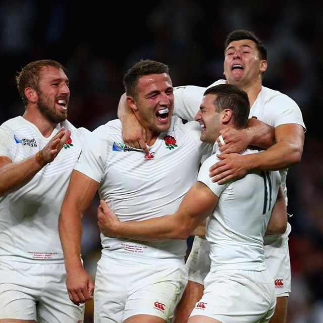 The England team celebrate Jonny May's try #rwc2015 #carrythemhome #ENGvWAL
