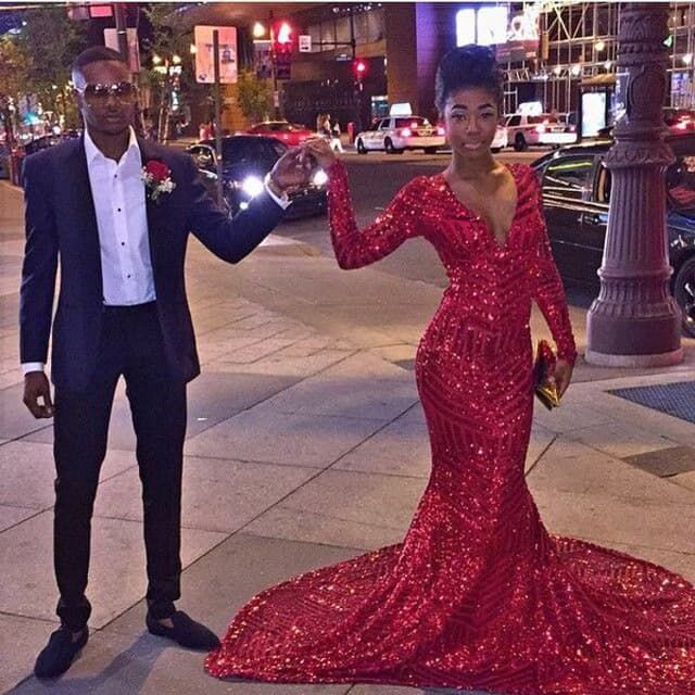 Sparkly Long Sleeve V Neck Red Sequin Mermaid Prom Dresses 2016 ,31 ...