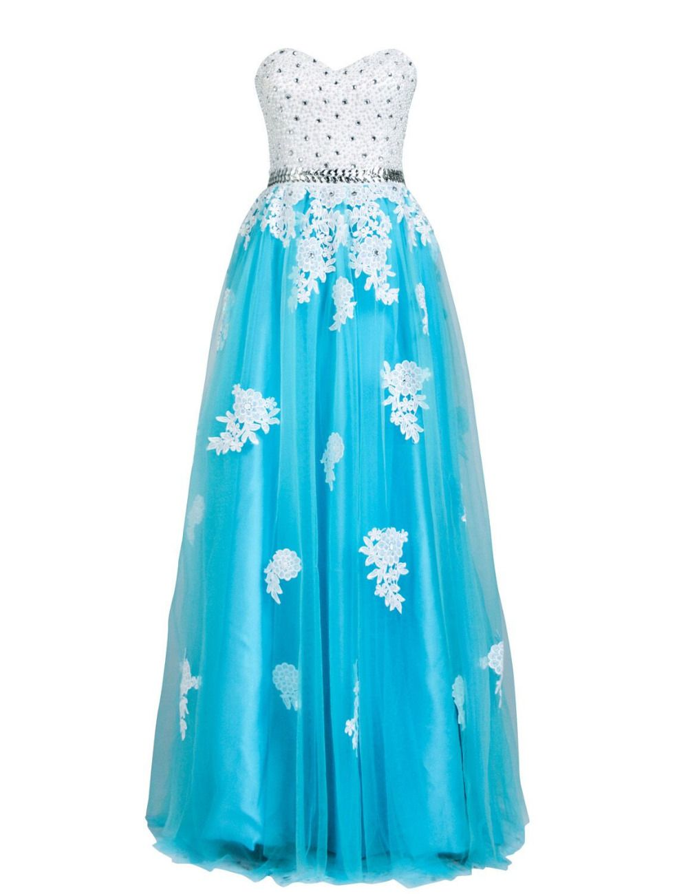 Click to buy ucuc new white and blue long prom dresses new