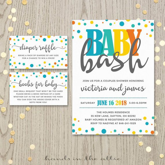 Baby Bash Couples Co Ed Baby Shower Invitation Card Baby Boy Shower Invite  Gender Neutral