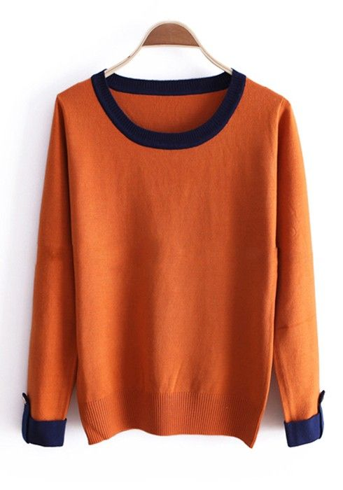 Orange Patchwork Color Block Round Neck Cotton Knit Sweater