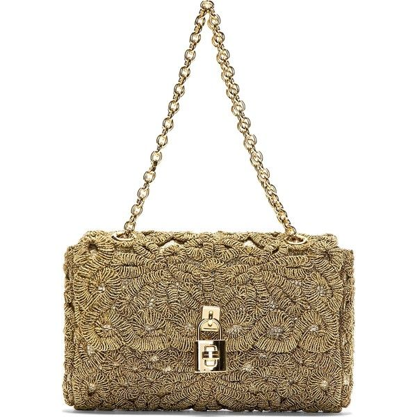Dolce/ Gabbana Gold Tonal Coiled Appliqué Shoulder Bag with Chain and Lock Detail