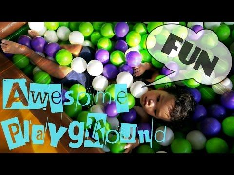 INDOOR PLAYGROUND Family Fun for Kids and Children with Playing Slide and Dive into Balls Pit