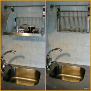 Dish rack installed above the sink. From IKEA. | Space saving