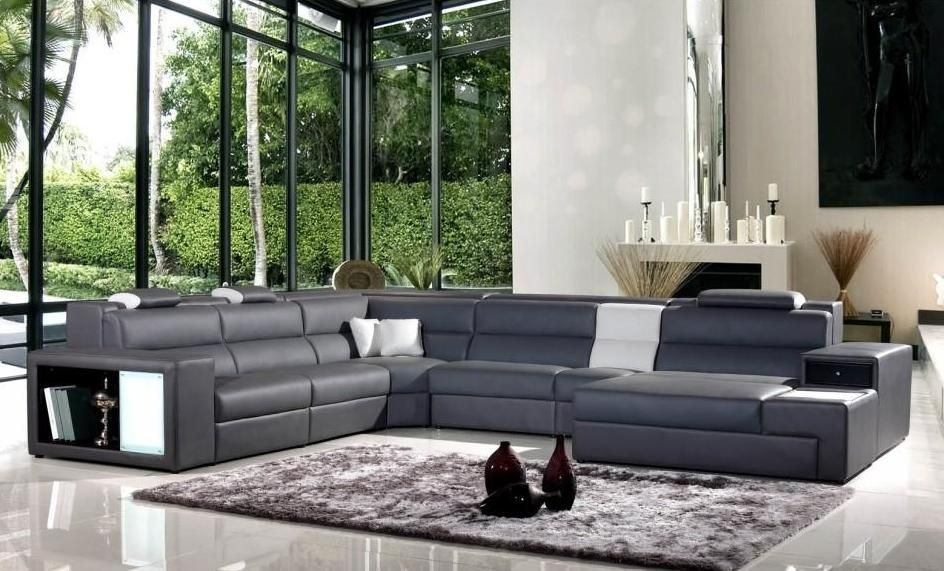 Grey Leather Sofa Color To Go With Royal Blue And Dark Grey Accent - Dark grey leather sectional sofa