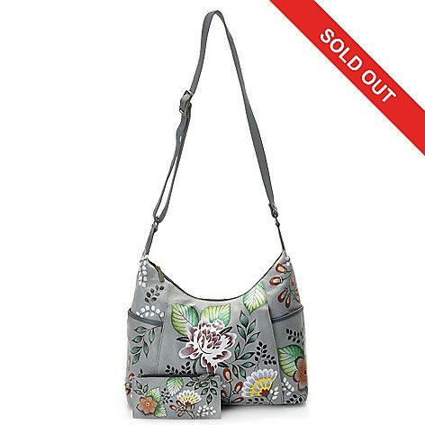 b84c9cb04eff 716-124 - Anuschka Hand-Painted Leather Zip Top Hobo Handbag w  Credit Card…