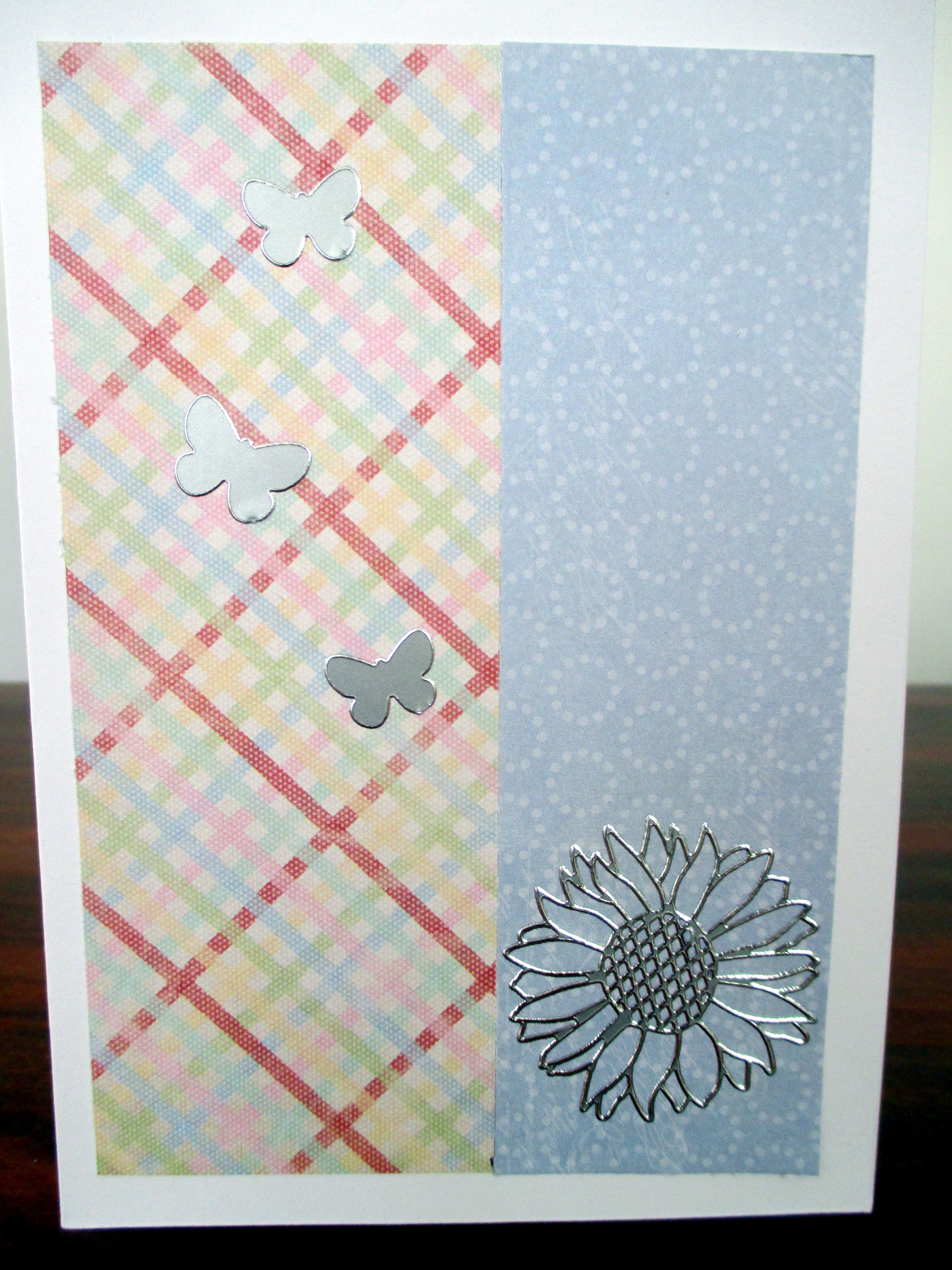 Handmade card with butterfly and flower stickers