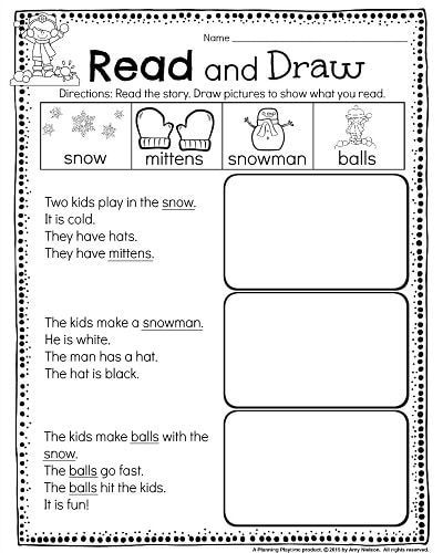 Kindergarten Math And Literacy Worksheets For December Planning Playtime Reading Comprehension Worksheets Reading Comprehension Reading Worksheets