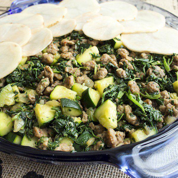 Recipe: Skinny Potato Sausage Casserole with Greens