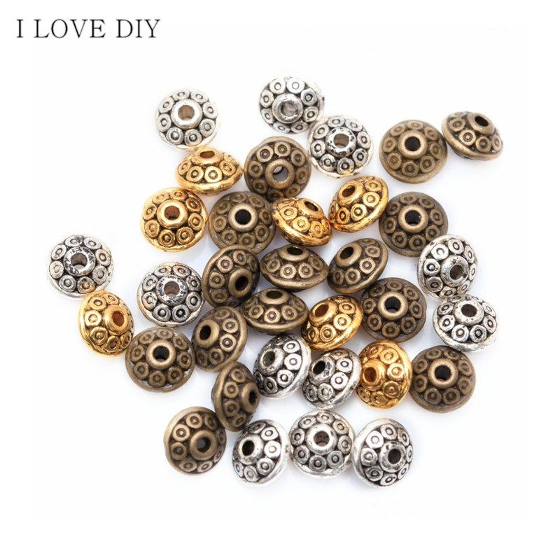 100 Pcs Sterling SILVER Pl Tibetan SPACER CHARM Beads For Bracelets JEWELLERY