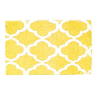 Fabbrica Home Quatrefoil Memory Foam Bath Rug Yellow Bath Mats