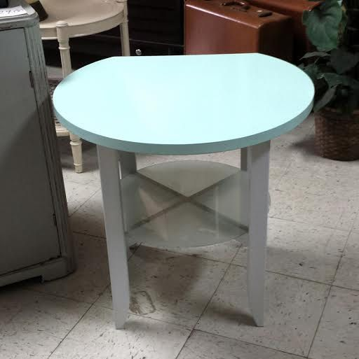 Vintage Round Modern Style End Table In Coastal By FrugalFortune
