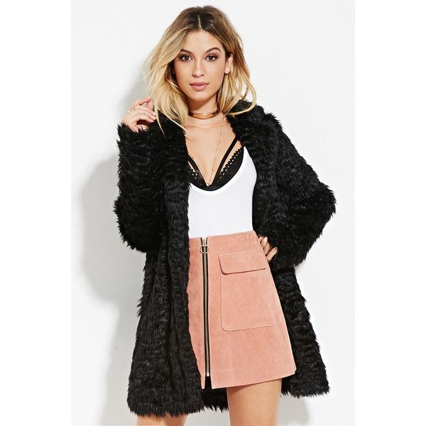 87e34bc74 Forever 21 Women's Longline Shaggy Faux Fur Coat ($49) ❤ liked on Polyvore  featuring outerwear, coats, black coat, long sleeve coat, black faux fur  coat, ...