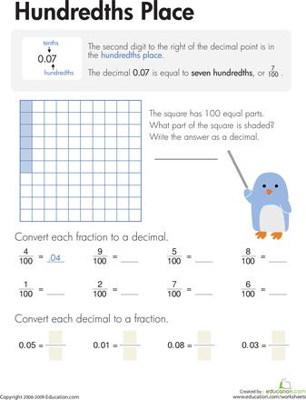 Decimals: Hundredths Place | Worksheets, Math and Teacher stuff