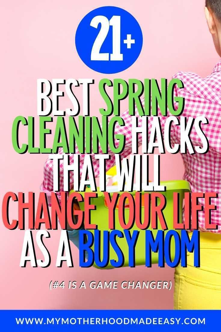 Spring Cleaning does have to be dreadful. With these 21+ Best Spring Cleaning Hacks and Tips That Will Change Your Life As a Busy Mom you will no longer dread Spring Cleaning as a Busy Mom. #springcleaning #cleaning #busymom #momlife