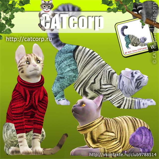 Knitted sweater and jeans for cats by CATcorp - Sims 3 Downloads CC Caboodle
