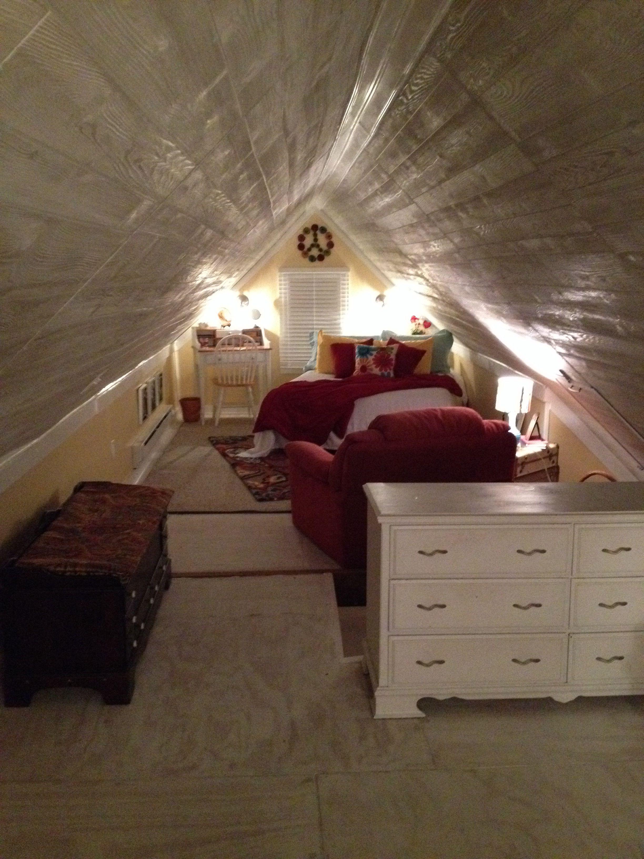 Repurposed attic space! Attic rooms Pinterest Attic
