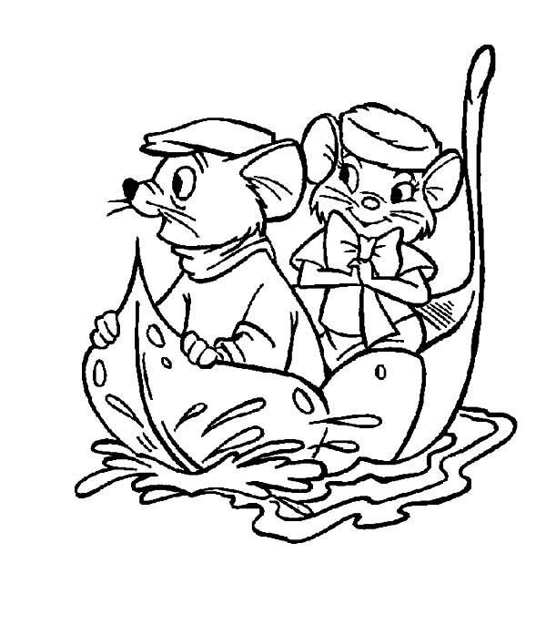 The Rescuers Miss Bianca And Bernard Sail With A Leaf Coloring Pages