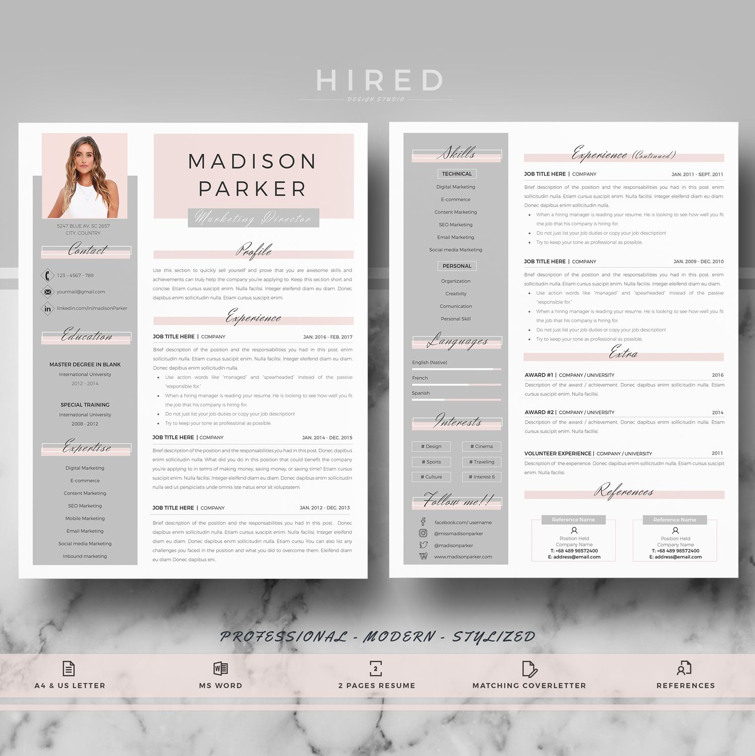 Creative Modern Resume Cv Template For Word And Pages Professional Resume Cv Design Cover Letter References Tips Instant Download Marketing Resume Cover Letter For Resume Resume Template Professional