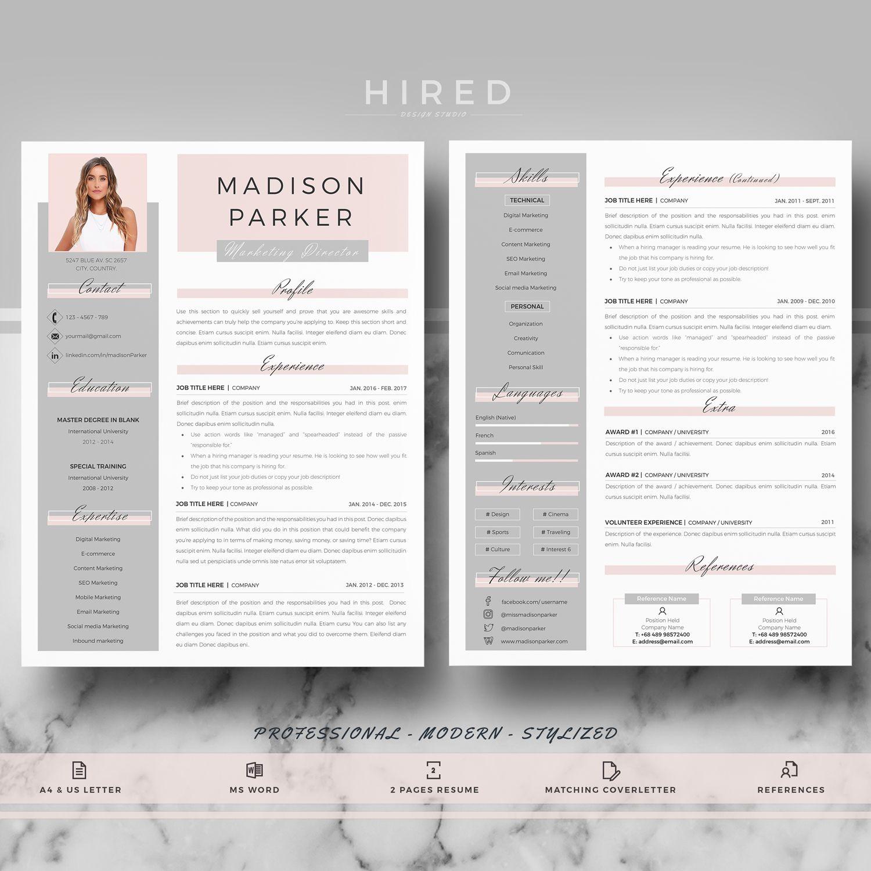 Creative Modern Resume Cv Template For Word Resume Design Madison Professional Resume Cv Cover Letter References Free Tips Instant Downlo Modern