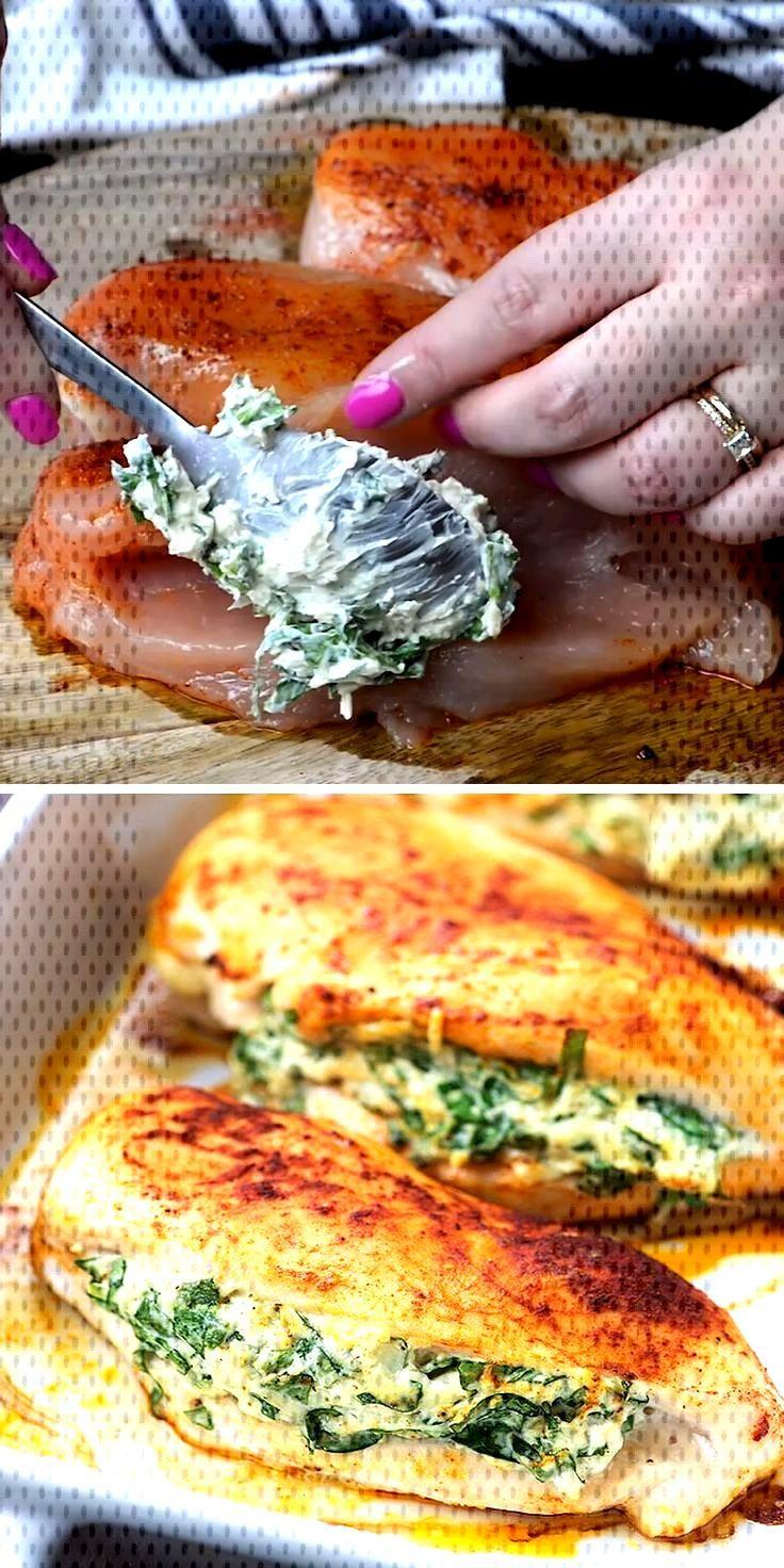 Escalopes de poulet farxies aux epinards- Spinatgefülltes Huhn -