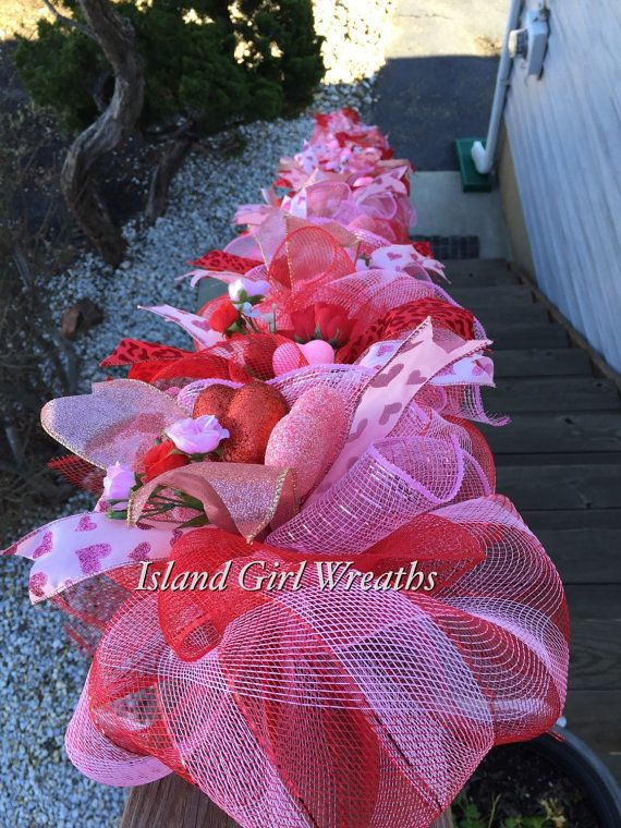 Valentine Garland Valentines Day Garland Deco By Islandgirlwreaths
